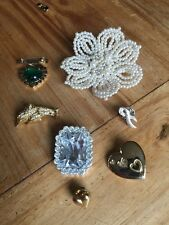 Job Lot Of 7 X Vintage Brooches Costume Jewellery Broaches Pins Diamantè