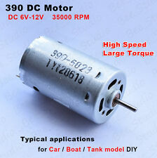 DC6 -12V High Speed Large Torque 390 DC Motor Carbon Brush for Car Boat Toy Tank