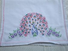 VTG Kitchen Towel / Dresser Scarf Peacock Vintage Embroidery Needlepoint