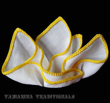 Quality Mens Irish Linen HAND ROLLED Pocket Square Yellow Crochet Solid White