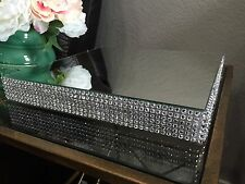 "12"" Square Wedding Cake Stand, Rhinestone Mesh, Mirror Top."