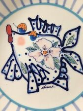 Stoneware Art by Diane Bowl Plate 2002 Kissing Fish Ocean Come Dream with Me
