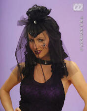 Ladies Black Curly Spider Wig With Veil Corpse Zombie Bride Halloween Fancy Dres