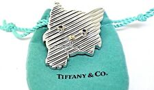 Tiffany & Co Rare Sterling Silver and 14K Gold Cat Kitten Sapphire Brooch Pin