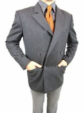 Mens CERRUTI 1881 Vtg 80s Wool Tweed Double Breast Grey Blazer Jacket sz 50 AS28