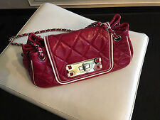 REDUCED PRICE!!! Chanel Dark Red Leather East West Accordion Flap Bag