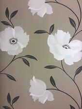 Bold Modern Floral Wallpaper Taupe Stone Sale Free Delivery