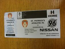 Billete De 02/08/2012: St Patricks Athletic V Hannover 96 [Europa Liga]. gracias F