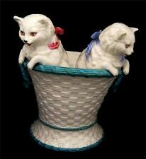 """Victorian Persian Kittens in Pottery Basket Vase - Superb and Large 7.5"""""""