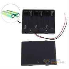 6x 2 AA 2A Battery 9V Clip Holder Box Case with ON/OFF Switch Wire Leads Black