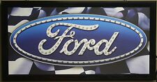 Ford racing led light sign shop decor flag neon message display classic car gt