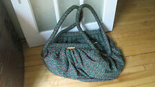 Vintage 70s Extra Large Slouchy Green Floral Cotton Tote Bag Purse Duffle