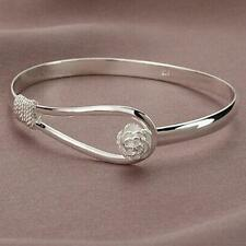 Fashion Women Silver Plated New Brand Rose Flower Bracelet Charm Cuff Bangle