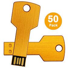 Lot 50 4GB USB 2.0 Flash Drive Metal Key Shape Thumb Pen Drive Memory Stick Gold