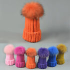 Multi Color Women Winter Raccoon Fur Pom Pom Knit Beanie Chunky Bobble Hats Caps
