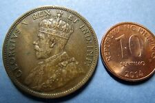 1911  Antique CANADA KING GEORGE VII ONE CENT LARGE BRONZE COIN, Fine Circulated