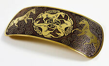 Celtic Epona Knot Hair Clip --- Medieval/Jewelry/Horse/Irish/Ireland/gold/brass