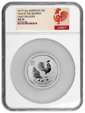 2017-P Australia $2 2 oz. Silver Lunar Year of the Rooster NGC MS70 ER SKU43500