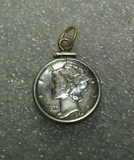 EXCELLENT Vintage Sterling Silver Framed 1944 Mercury Dime Charm