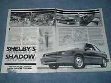 """1987 Dodge Shelby CSX Vintage Info Article """"Shelby's Shadow"""""""
