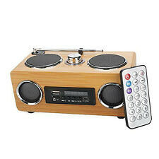 Hand-made Mini Portable Hi-fi Bamboo Wood box  Card Speaker With Radio Function