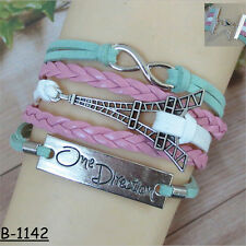 Vintage Leather One Direction Tower Jewelry Woven Bangle Infinity Charm Bracelet