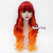 Lolita Long 75CM Red Mixed Yellow Anime Cosplay Curly Heat Resistant Full Wig