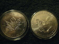 2013 Beautiful .999 fine Canadian Five $5 and American Silver Dollar 2 troy oz