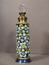 GLASS PERFUME BOTTLE DECORATED/WRAPPED IN BRASS, ENAMEL & RHINESTONES - EMPTY