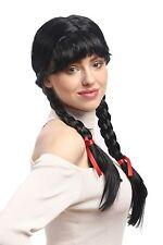Parrucca Donna Carnevale Cosplay carnevale Trecce intrecciata Scolaretta Nero