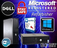 WINDOWS 10 DELL DESKTOP PC WIRELESS WIFI CORE 2 DUO, 1TB 4GB COMPUTER TOWER SALE