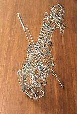 Handmade Wire Model of Cello with Bow & Stand Decorative Item Music Instrument
