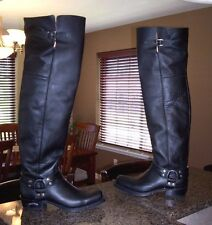 "HOT! Men's Black Leather 27"" Tall Sendra Motorcycle Harness  BOOTS 45  11 - 11.5"