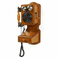 OLD FASHIONED TELEPHONE Retro Wall Mount Phone Country Kitchen Decor Wood Oak