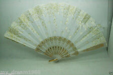 Spanish Style Brocade Gold Flower Party Romantic Wedding Folding Fan White