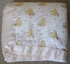 Disney Classic Winnie the Pooh Girls 2 Sided Pink Baby Blanket 47 x 44
