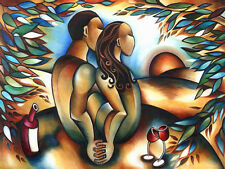 STEPHANIE CLAIR - LOVERS AT SUNSET - 36 x 48 - ORIGINAL PAINTING CANVAS - CUBISM