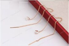 18K Rose Gold Plated Clear CZ Pull Through Ear Thread Threader Dangle Earrings