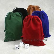 """NEW 5 Dice Bags 5"""" x 7"""" Velveteen Cloth Bag Set RPG D&D Game Counter Pouch"""