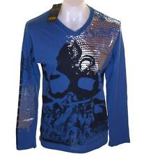 Bnwt Mens Smet Long Sleeve Foil Print T Shirt Christian Audigier XLarge V Neck