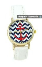 ladies navy anchor gold tone fashion watch blue white red dial white leather