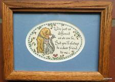 """Vintage Framed Calligraphy Lynn Parker Dog and Cat """"We are as different..."""""""