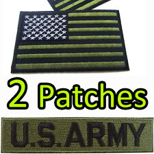 US ARMY + US Flag American Military USA Iron On Patch Embroidered Sew Craft DIY