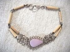 HAND CRAFTED PINK AGATE TEARDROP, WOUND WIRE & BUGLE BEAD BRACELET