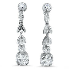 ANTIQUE VICTORIAN DESIGN 925 STERLING SILVER CUBIC ZIRCONIA EARRINGS,    #609