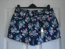 BNWT Navy with multi colour pastel floral cotton hot pants short shorts Size 10