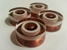 4 Guitar speed volume / tone knobs.. Copper/Cream.. JAT CUSTOM GUITAR PARTS