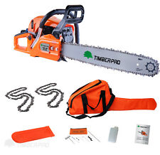 "TIMBERPRO 62cc Petrol Chainsaw with 16"" Bar and 2x Saw Chain Assisted Easy Start"