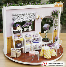 DIY Wooden Dollhouse Miniature Kit Display-- Love Lavender Story Garden Cute