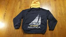 Nautica Full Zip Hood Windbreaker XL Graphic Boat SPELL OUT Navy Yellow VTG 90s